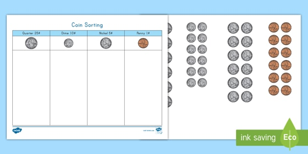 new coin sorting activity mat early childhood economics social. Black Bedroom Furniture Sets. Home Design Ideas