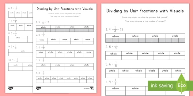 Dividing by Unit Fractions with Visuals Worksheet ...