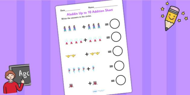 Aladdin Up to 10 Addition Sheet - aladdin, 0-10, add, adding