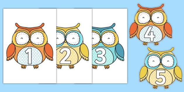1-10 on Cute Owls - 1-10, cute owls, cute, owls, display, numbers, 1, 10