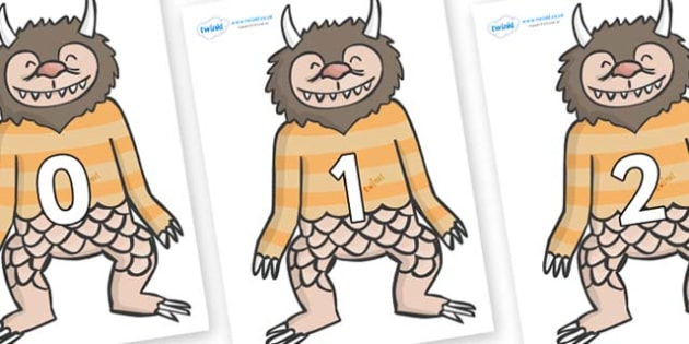 Numbers 0-50 on Wild Thing (1) to Support Teaching on Where the Wild Things Are - 0-50, foundation stage numeracy, Number recognition, Number flashcards, counting, number frieze, Display numbers, number posters