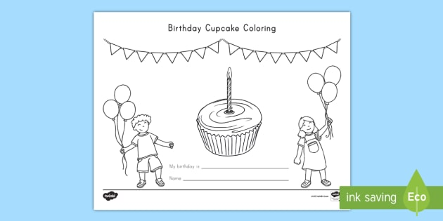 Birthday Cupcake Coloring Worksheet / Worksheet