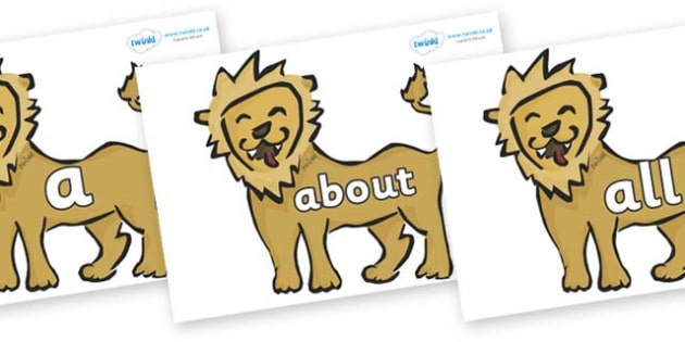 100 High Frequency Words on Lions - High frequency words, hfw, DfES Letters and Sounds, Letters and Sounds, display words
