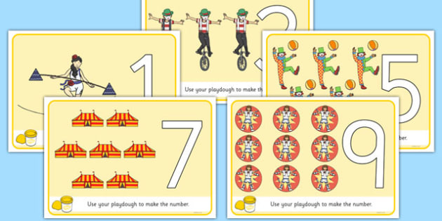 Circus Themed Playdough Number Mats 0-10 - circus, playdough