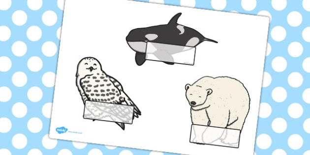 Editable Self-Registration Labels (Arctic Animals) - Self registration, register, animal, arctic, winter, editable, labels, registration, child name label, printable labels
