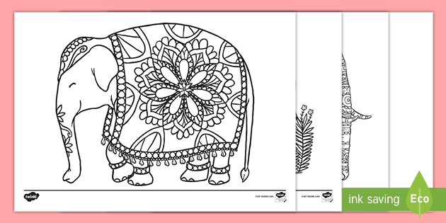 mindfulness elephant colouring pages (teacher made)