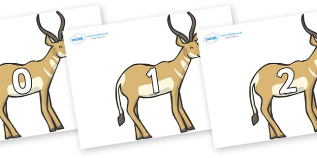 Numbers 0-31 on Antelopes - 0-31, foundation stage numeracy, Number recognition, Number flashcards, counting, number frieze, Display numbers, number posters