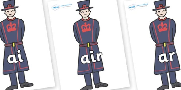 Phase 3 Phonemes on Beefeaters - Phonemes, phoneme, Phase 3, Phase three, Foundation, Literacy, Letters and Sounds, DfES, display
