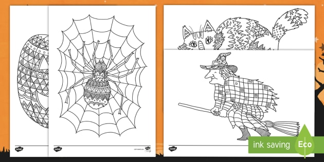 Halloween Themed Mindfulness Colouring Pages English Mandarin