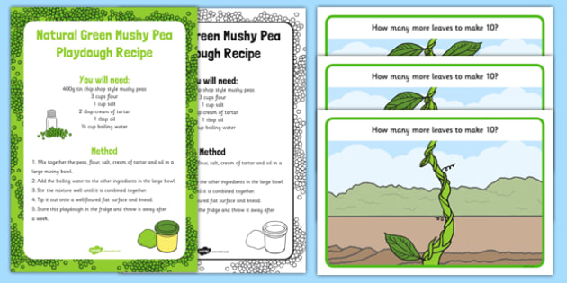 Beanstalk Leaves to Make 10 Playdough Recipe and Mat Pack - EYFS Early years, malleable physical development, UTW, Jack and the beanstalk, Jaspers beanstalk, plants and growth, growing, beans