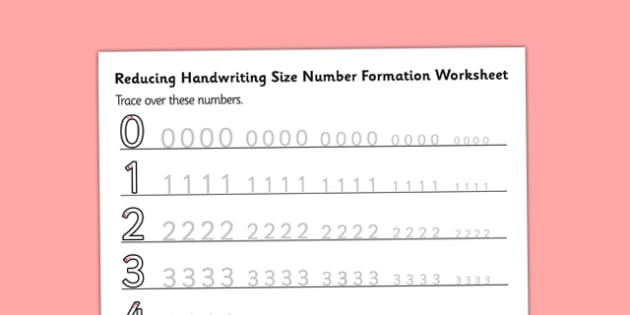 0-10 Reducing Handwriting Size Number Formation Worksheets - reducing, handwriting, size, number, formation, worksheets, overwriting