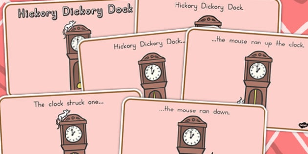 Hickory Dickory Dock Story Sequencing Colour - nursery rhymes