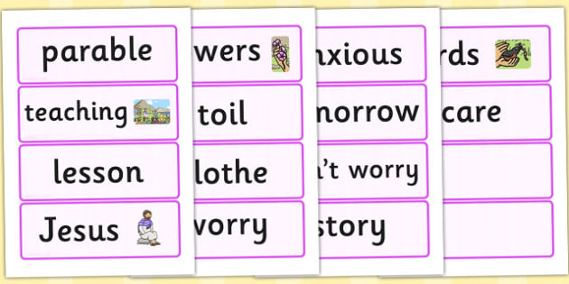 The Flowers of the Field Word Cards - parable, word cards, cards