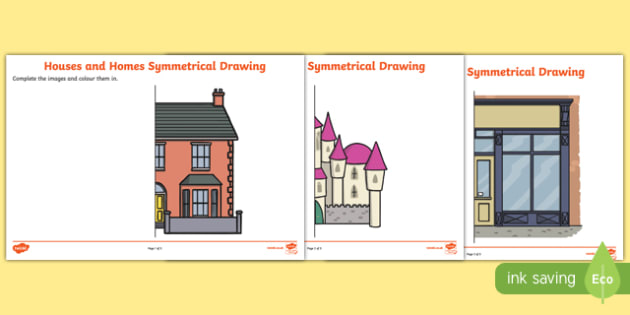 Houses and Homes Complete the Symmetrical Picture Worksheet / Activity Sheet Pack, worksheet