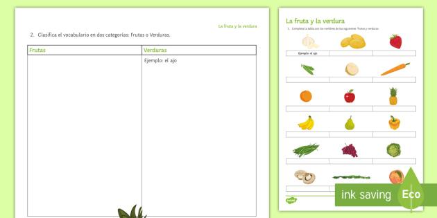 Fruit and Vegetables Worksheet / Worksheet - Spanish - Spanish