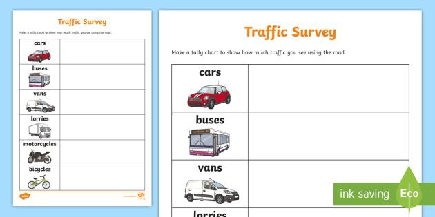free traffic survey worksheet worksheet traffic survey survey how. Black Bedroom Furniture Sets. Home Design Ideas