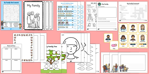 My Family  Activity Pack - All about me, my family, family, extended family, family tree