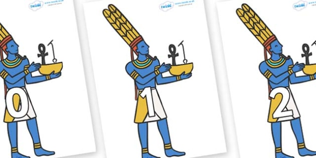 Numbers 0-31 on Egyptian Gods - 0-31, foundation stage numeracy, Number recognition, Number flashcards, counting, number frieze, Display numbers, number posters