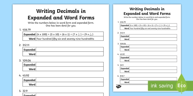 expanded form word form  Writing Decimals in Expanded and Word Form Activity