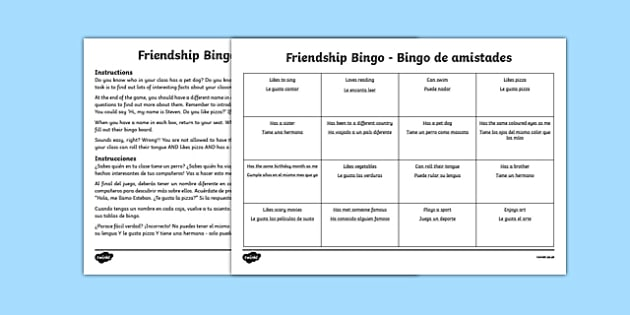 Back to School New Class Friendship Bingo Activity Spanish Translation - spanish, Back to School, new start, new class, new friends, getting to know, first day back, pshe, all about me, classroom management