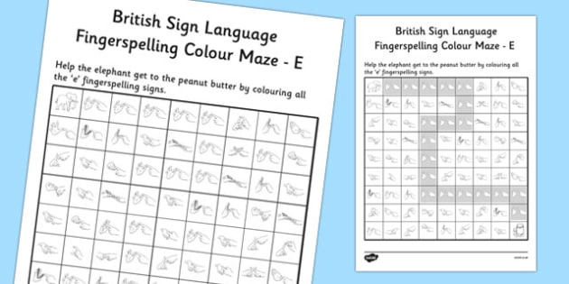 British Sign Language Left Handed Fingerspelling Colour Maze E