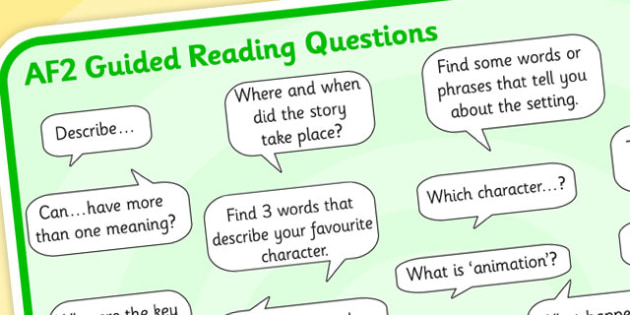 AF2 Guided Reading Question Mat - assessment focus 2 mat, af mat, af2 mat, assessment focus questions, af2 questions mat, assessment focus reading mat, af2