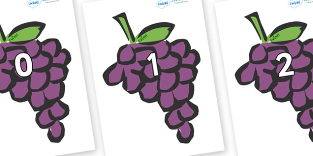 Numbers 0-50 on Grapes - 0-50, foundation stage numeracy, Number recognition, Number flashcards, counting, number frieze, Display numbers, number posters