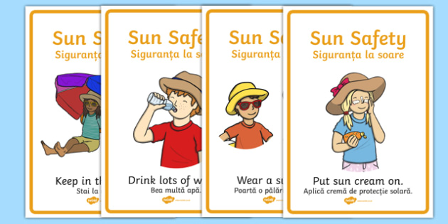 Sun Safety Posters Romanian Translation - romanian, Sun safety, Sun, Summer, sunburn, Display Words, display, summer, fun in the Sun, Sun danger, sun hat, sunglasses
