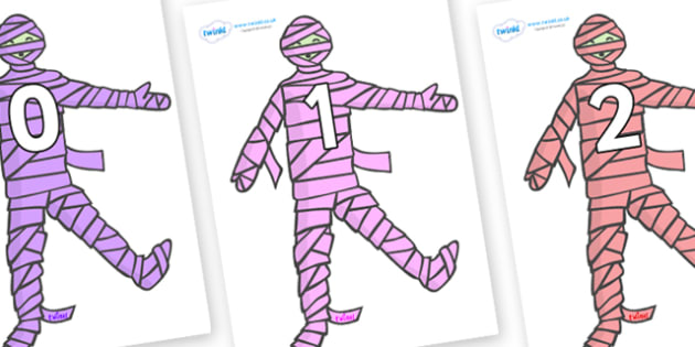Numbers 0-50 on Mummies (Multicolour) - 0-50, foundation stage numeracy, Number recognition, Number flashcards, counting, number frieze, Display numbers, number posters