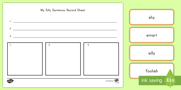 silly sentence building activity silly sentence word cards