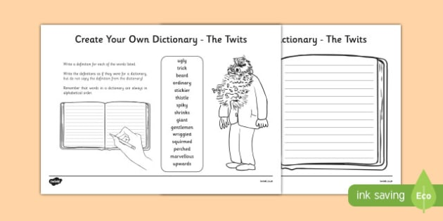 Key Vocabulary Create Your Own Dictionary to Support Teaching on The Twits-Scottish