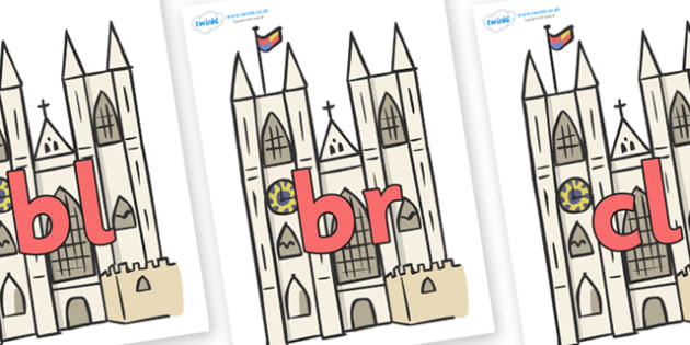 Initial Letter Blends on Cathedrals - Initial Letters, initial letter, letter blend, letter blends, consonant, consonants, digraph, trigraph, literacy, alphabet, letters, foundation stage literacy