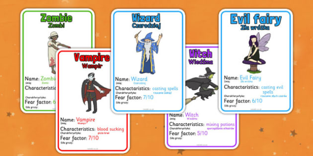 Halloween Monster Top Card Game Polish Translate - polish, halloween, hallowe'en, monster, top trumps