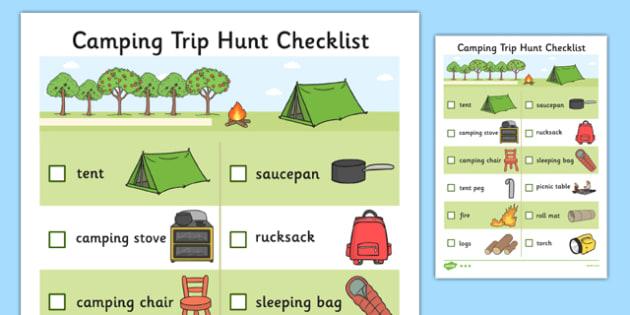 Camping Trip Hunt Checklist - camping trip, hunt, checklist