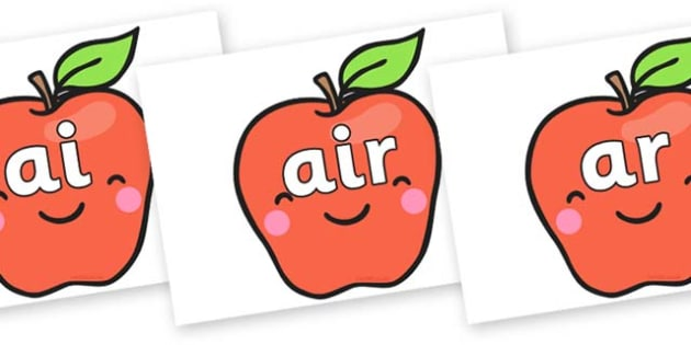 Phase 3 Phonemes on Cute Smiley Apple - Phonemes, phoneme, Phase 3, Phase three, Foundation, Literacy, Letters and Sounds, DfES, display