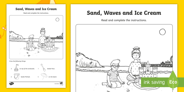 Sand, Waves And Ice Cream Draw And Count Worksheet