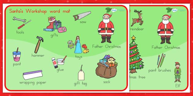 Australia Santas Workshop Word Mat - santa, christmas, word mat, keywords