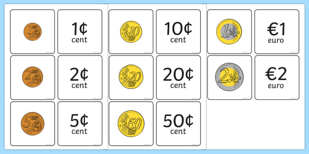 euro coin value matching card activity money currency match. Black Bedroom Furniture Sets. Home Design Ideas