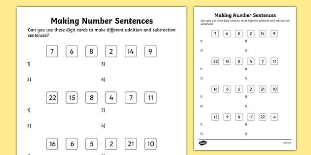 Making Number Sentences Worksheet / Activity Sheet, worksheet