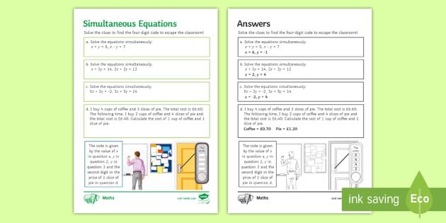 Gcse Escape The Room Simultaneous Equations Challenge Card