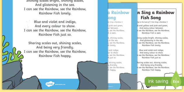 free i can sing a rainbow fish song to support teaching on the rainbow. Black Bedroom Furniture Sets. Home Design Ideas