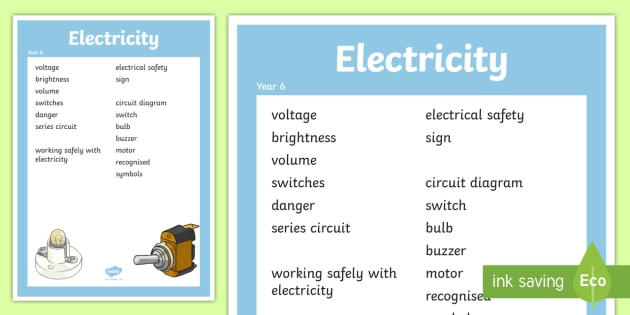 year 6 electricity scientific vocabulary poster posters, words