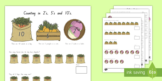 Counting in 2s, 5s and 10s Multiplication Worksheet ...