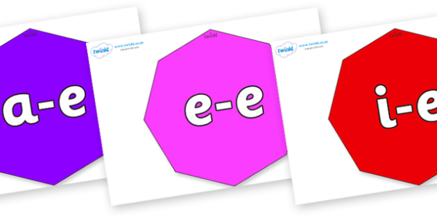 Modifying E Letters on Octagons - Modifying E, letters, modify, Phase 5, Phase five, alternative spellings for phonemes, DfES letters and Sounds