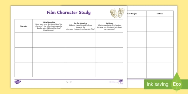 Film Character Study Worksheet (teacher Made)