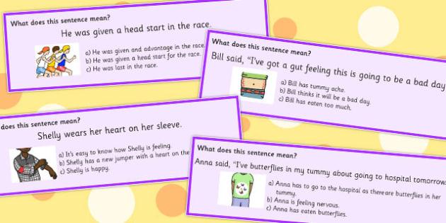 Body Idiom Sentences Multiple Choice - questions, definition