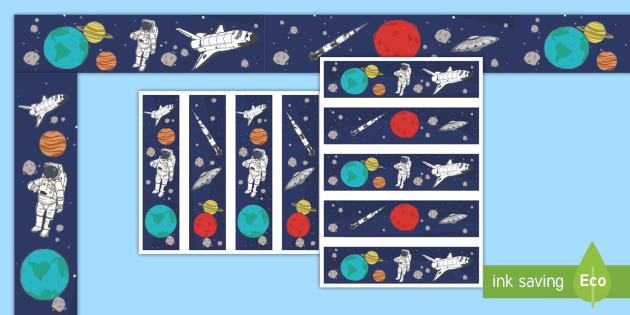 Space Display Borders - Display border, classroom border, border, space, ship, rocket, alien, launch, moon, stars, planet, planets