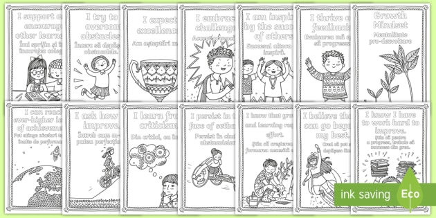 Growth Mindset Statements Colouring Pages Romanian/English   Mindfulness, Growth  Mindset, Colouring,