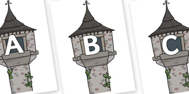 A-Z Alphabet on Towers - A-Z, A4, display, Alphabet frieze, Display letters, Letter posters, A-Z letters, Alphabet flashcards
