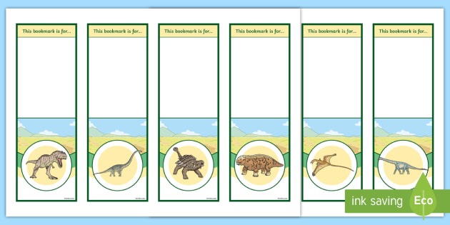 editable dinosaurs bookmarks bookmark bookmark template dinosaur gift present book